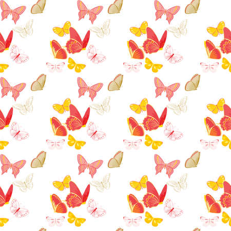 natue: Seamless pattern with colorful butterflies on white background. Unique natue, insect pattern