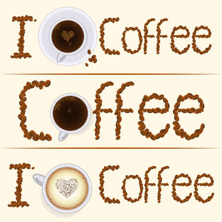 house clearance: Set of I love coffee banners with coffee beans type, cappuccino, espresso and coffee cups. Elegant banners for coffee house, cafe, coffee shop. Business identity, advertisement mock ups. Vector. Illustration