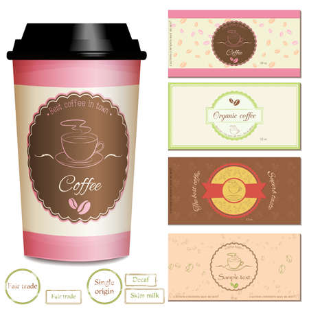 skim: Set of premium coffee shop logo and label designs, coffee cup labels. Coffee stickers and seals. Realistic take away coffee cup. Business identity templates, mock ups. Vector. Illustration