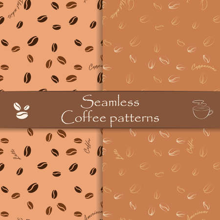 coffee beans: Set of hand drawn coffee seamless patterns. Unique seamless patterns for cafes, websites, scrapbook projects, wallpapers, textile and wrapping paper. Vector
