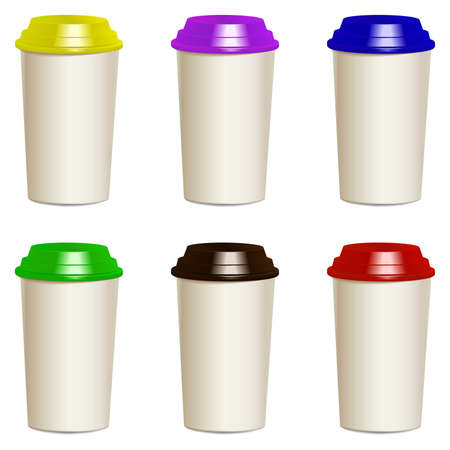 polystyrene: Collection of take away hot drink cups with different lids. Realistic objects templates, mock ups. Vector. Illustration