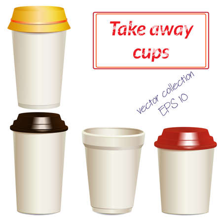 ups: Collection of take away hot drink cups in different shapes and sizes. Realistic objects templates, mock ups. Vector. Illustration