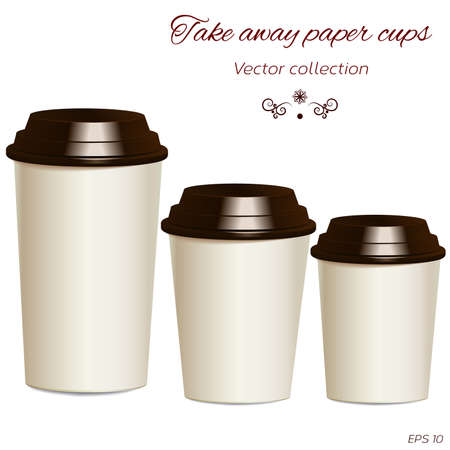 ups: Collection of take away hot drink cups in different sizes with lids. Realistic objects templates, mock ups. Vector. Illustration