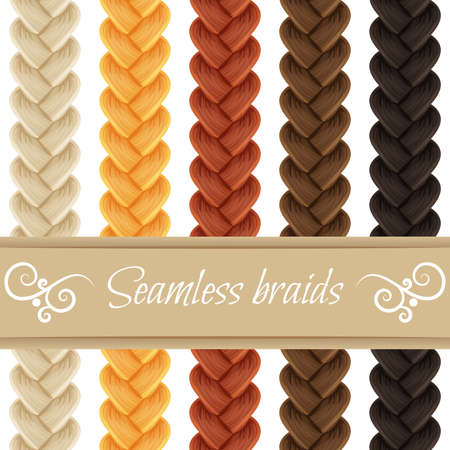 Set of seamless hair braid, three strand french braid, plait isolated on white. Vector pattern brush for hair styles and patterns. Vettoriali