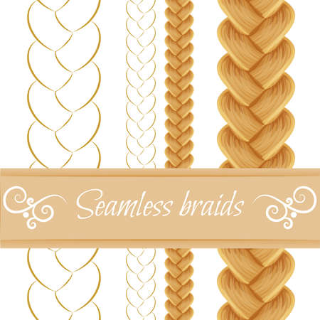 Set of seamless hair braid, three strand french braid, plait isolated on white. Vector pattern brush for hair styles and patterns.  Colored and line drawing.