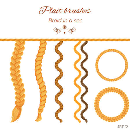 Hair braids, hair plaits isolated on white background. Three strand braid brush, twist plait brush, seamless braids, tress.