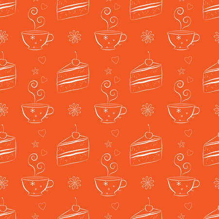 bright cake: Flat seamless background with line drawing cake slices and tea cups. Dessert theme. Bright and unique background for cooking websites, cafes, bakeries, textile and wrapping paper. Vector