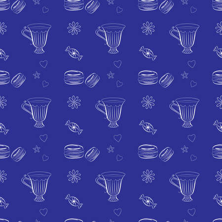 line drawing: Flat seamless background with line drawing macaroons and tea cups. Dessert theme. Bright and unique background for cooking websites, cafes, bakeries, textile and wrapping paper. Vector Vettoriali