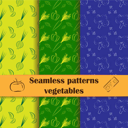 line drawing: Set of flat seamless backgrounds with line drawing vegetables. Food, cooking theme. Unique and elegant patterns for cafes, websites, scrapbook projects, wallpapers, textile and wrapping paper. Vector Vettoriali