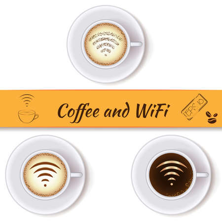 hotspot: Coffee cups and wifi symbol concept icons, design elements. Cups of coffee with wifi sign. Internet cafe with open wifi hotspot