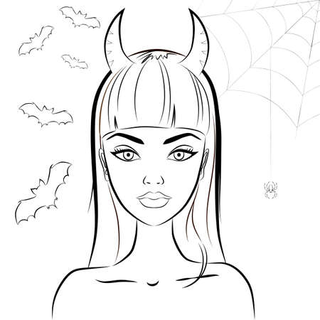 voluptuous: Halloween beautiful witch with horns. Line drawing of sexy glamorous evil witch with satan horns against bats and spiderweb on the background. In modern line style. Outline. Vector