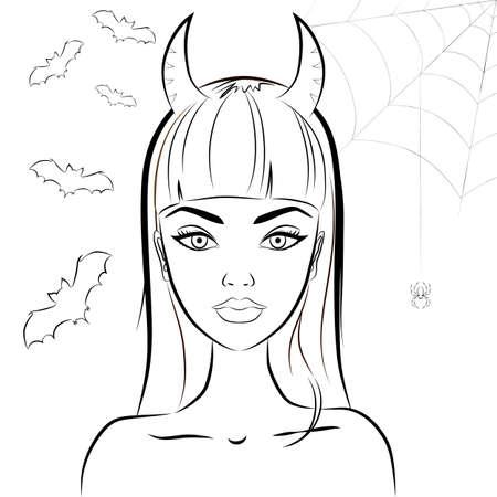 czarownica: Halloween piękne czarownica z rogami. Rysowanie linii sexy glamour zła czarownica z szatanem rogi przeciwko nietoperzy i pajęczyną w tle. W stylu nowoczesnej linii. Zarys. Wektor