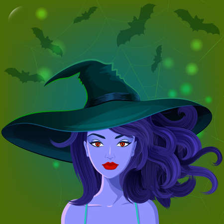 wiccan: Halloween beautiful witch in pointy hat against spiderweb and bats on the background. Sexy glamorous witch Illustration
