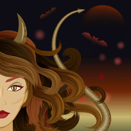 wiccan: Halloween beautiful witch with horns, reptiles eyes and devils tail. Glamorous devil set against gloomy background with moon and bats. Vector Illustration