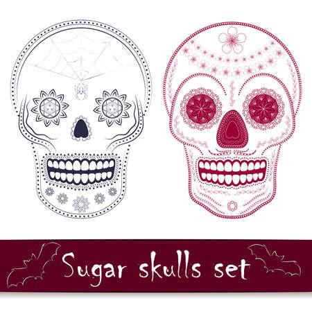 streckbilder: Day of the dead mexikanska sockerskallevektorillustration set. Line art designelement