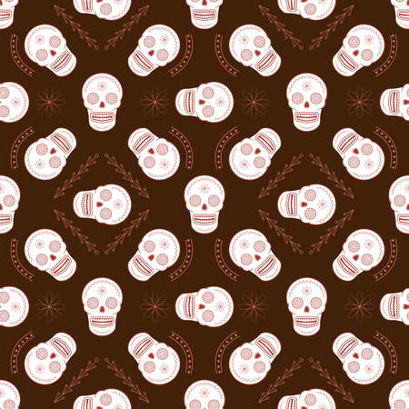 paper art projects: Sugar skull vector seamless background. Line art seamless wallpaper. Great for kids textile, wallpaper, websites, skrapbook projects and wrapping paper. Illustration