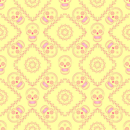 dead: Day of the dead mexican sugar skull vector seamless background. Line art seamless wallpaper. Great for kids textile, wallpaper, websites, skrapbook projects and wrapping paper.