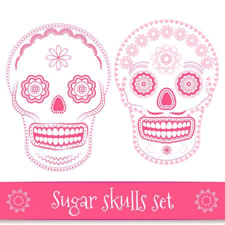 calaveras: Día de los muertos, helloween, mexicano del cráneo del azúcar ilustración vectorial conjunto. Línea arte elementos de diseño Vectores