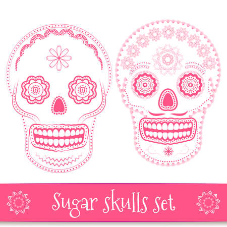 sugar: Day of the dead, helloween, mexican sugar skull vector illustration set. Line art design elements
