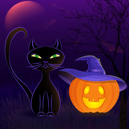 cute wallpaper: Halloween night vector poster with black cat, Jack OLantern in witchs hat, moon and bats against spooky night background.