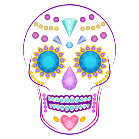rnb: Cartoon vector skull decorated with colorful precious stones and gems isolated on white background