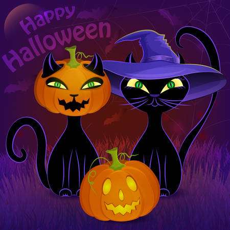 Halloween night vector poster with black cats, Jack O'Lantern, witch's hat, moon, cobweb and bats