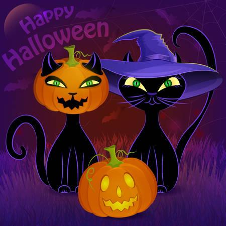 bruja: Halloween del cartel de la noche del vector con los gatos negros, Jack O'Lantern, bruja del sombrero, la luna, telara�a y los murci�lagos