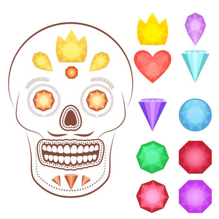 rnb: Collection of vector glossy and bright cartoon gems stones, diamonds, minerals, rubies, emeralds. Could be used as icons and in game interface.