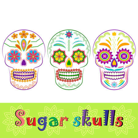 dia de los muertos: Colorful sugar skull collection. Dia de los Muertos, Day of the Dead set isolated on white. Could be used as icons or design elements.