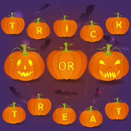 jack: Halloween vector poster with Jack OLanterns, bats and carved pumpkins forming Trick or Treat words.