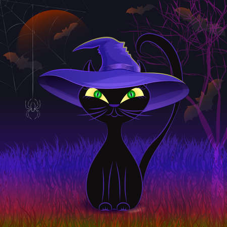 wicca: Halloween night vector poster with cute black cat wearing witchs hat against scarry night background with creepy tree, moon, cobweb and bats.