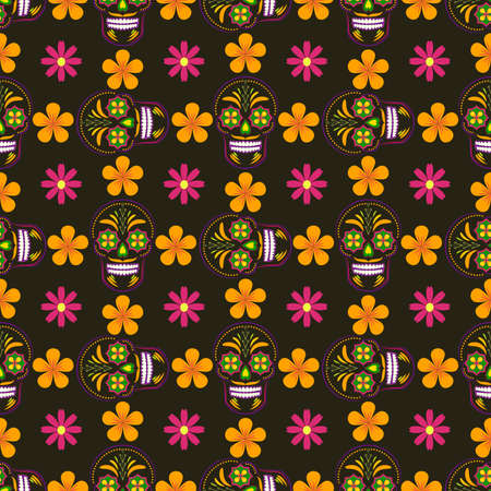 macabre: Seamless vector wallpaper with ornated sugar skulls and flowers. Perfect modern pattern for textile, wallpaper, websites, scrapbook projects and wrapping paper.