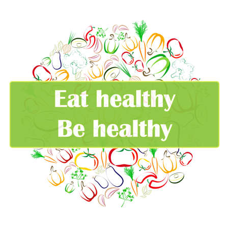 flier: Healthy eating banner, flier template design. Contour vegetables arranged in circle on white background. Vegetarian raw eating promotion. Great for menu covers, packaging, wrapping paper, bag prints, etc