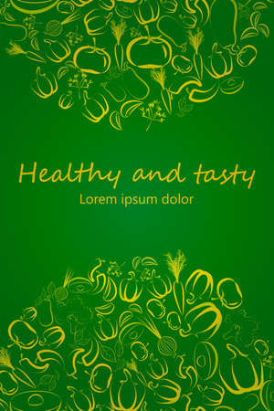 flier: Healthy eating flier template design. Contour vegetables arranged in semi-circles on green. Vegetarian raw eating concept banner. Great for menu covers, packaging, wrapping paper, bag prints, placards