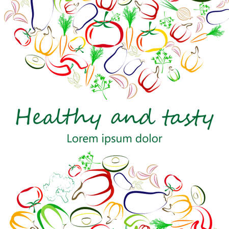 flier: Healthy eating flier template design. Contour vegetables arranged in semi-circles on white. Vegan, raw eating concept banner. Great for menu covers, packaging, wrapping paper, bag prints, placards