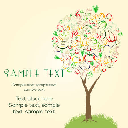 flier: Abstract tree made of colorful vegetables. Healthy vegetarian raw eating concept banner, flier template design. Great design element for labels, menu covers, menu cover, cards, invitation, etc Illustration