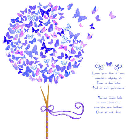 Vintage stylized vector tree made of butterflies in violet blue hues. Template card design with space for text. Design element with set of butterflies. Great for invitations, Valentine's Day decoration, romantic cards and bag prints. Isolated on white. Vettoriali
