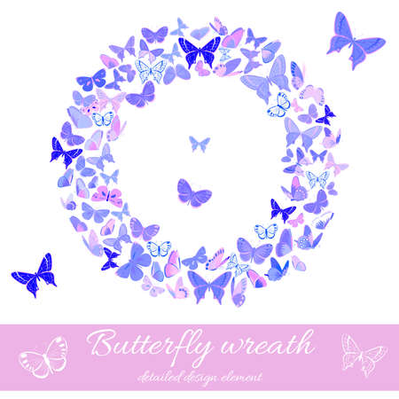 winter wedding: Stylized wreath made of butterflies in delicate violet and pink hues. Design element with set of butterflies. Great for invitations, cards and bag prints. Isolated on white. Illustration