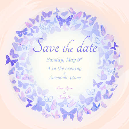 hues: Vintage invitation template in delicate pastel hues. Detailed wreath of butterflies on watercolor imitation background. Template frame design with copy space. Great for invitations, cards and as design elements