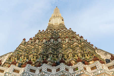 hallowed: Decorated tower of Temple in Bangkok, Thailand Stock Photo