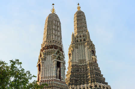 hallowed: Decorated towers or prangs, Bangkok, Thailand