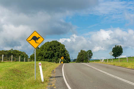 rural road: Australian outback road with kangaroo road sign. Country road in rural Australia with kangaroo on the road warning road sign