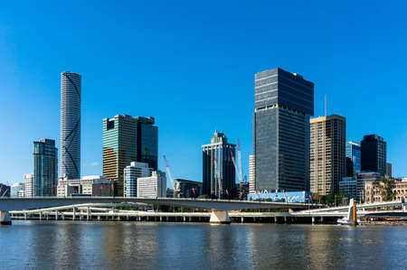 Australia, Brisbane skyline. View from river. Modern skyscrapers of Brisbane city with Brisbane river on the foreground