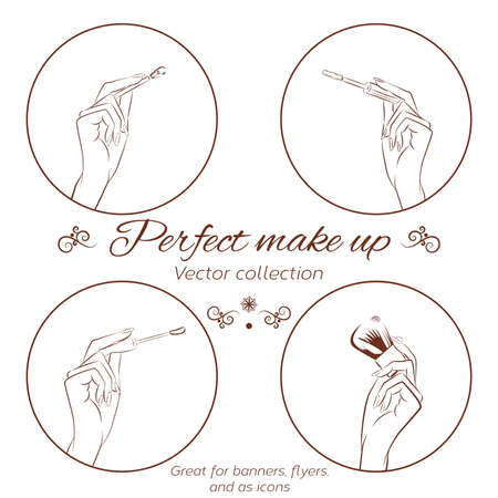 Woman doing make up. Manicured hands holding make up brushes. Set of hands and make up brushes. Line drawing isolated on white