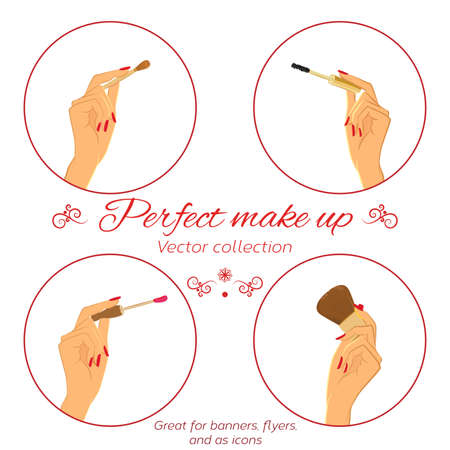 manicured hands: Woman doing make up. Manicured hands holding make up brushes. Set of hands and make up brushes. Isolated on white Illustration