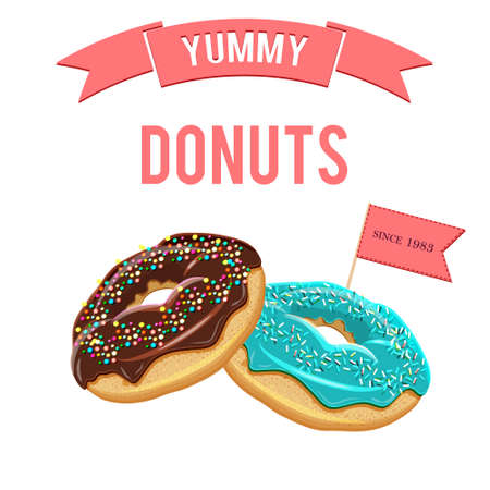 glazing: Assorted vector donuts bakery poster. Collection of tasty realistic donuts with different icings. Yummy vector doughnuts banner with various glazing and icing. Hand drawn donuts isolated on white background Illustration
