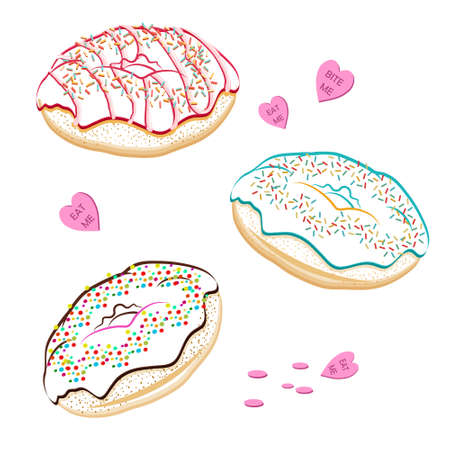glazing: Assorted vector donuts line drawing, contour. Collection of tasty hand drawn donuts with different icings. Yummy vector doughnuts banner with various glazing and icing. Hand drawn line donuts isolated on white