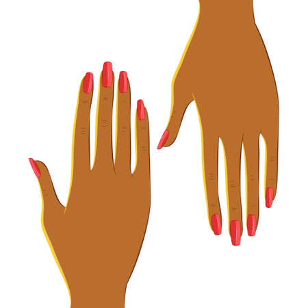 brown skin: Manicured hands with dark brown skin. Body parts, hand isolated on white background. Beauty, fashion and make up concept