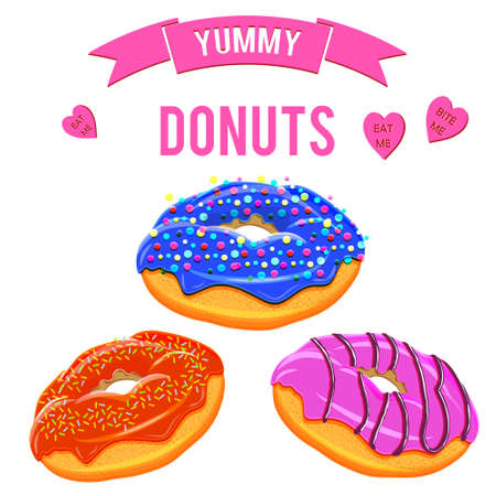 glazing: Assorted donuts set. Collection of tasty realistic donuts with different icings isolated on white background. Yummy doughnuts set with various sprinkles, toppings, glazing and icing