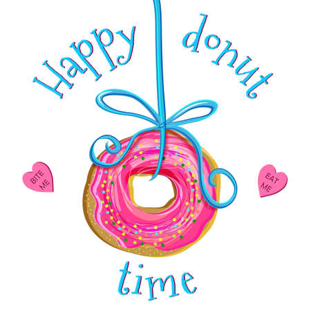 Creative hand drawn illustration of doughnut with pink icing playfully hanging on a blue ribbon. Heart shaped candies with words Eat me and Bite me laying around. Isolated on white background